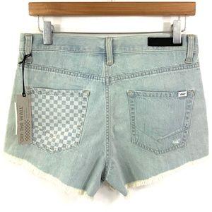 VANS High Waist Destroyed Jean Shorts Light Blue